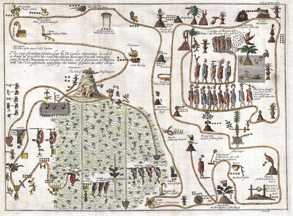 Prikaz putovanja Azteka od Aztlána do Tenochtitlána