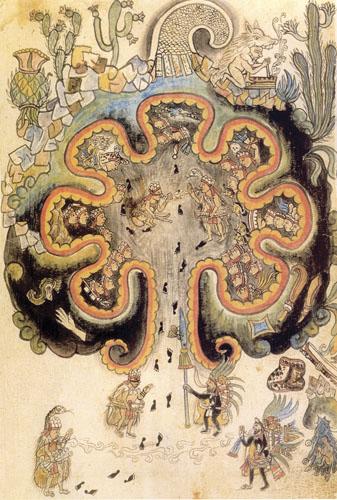 Chicomoztoc – Mjesto sedam pećina. Stare kronike nahuatleških naroda govore o Aztecima kao jednom od sedam plemena koji su krenuli iz mjesta Chicomoztoc, Mjesta sedam pećina, što neki autori smatraju samo drugim, metaforičnim nazivom za otok Aztlán.