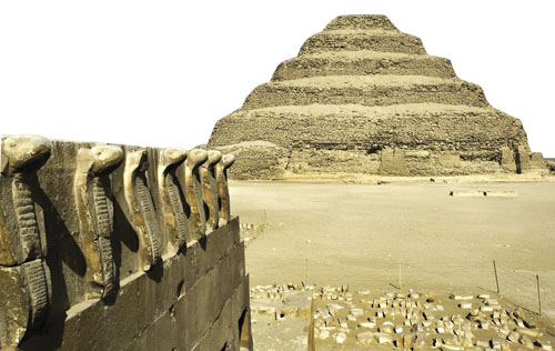Cobra_Figures_and_the_Step_Pyramid_Saqqara_Egypt