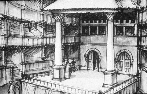 Pogled na pozornicu i tiring house u kojem su se nalazile odaje za presvlačenje glumaca.