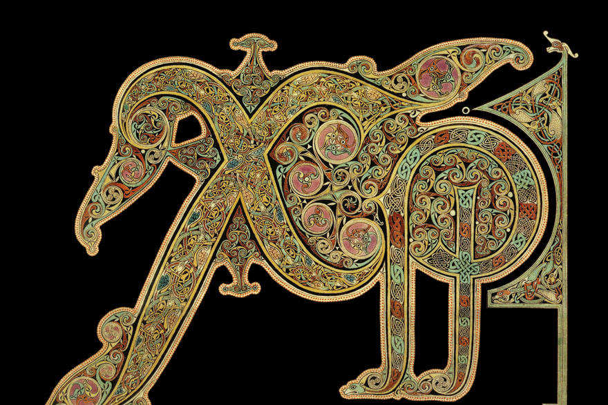 Lindisfarne Gospels, dio ornamenta. Lindisfarne Gospels (Lindisfarnska evanđelja), čuveni iluminirani rukopis, nastao je krajem VII. stoljeća u samostanu na otočiću Lindisfarne, na sjeveroistoku Engleske. Ovaj je samostan u ranom srednjem vijeku bio važno duhovno središte Britanije, a utemeljio ga je irski redovnik Aidan s Iona 635. godine na poziv kralja Oswalda od Northumbrije, u cilju pokrštavanja Anglosaksonaca. Rukopis se danas čuva u Britanskoj knjižnici (British Library).