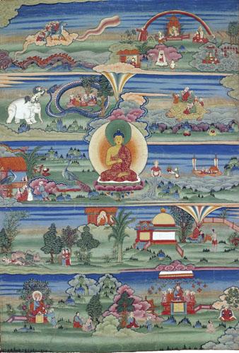 Thangka oslikana prizorima iz prica Jataka