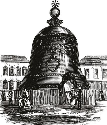"""Zvono Kolokol. Unutar Kremlja nalazi se najveće i možda jedno od najpoznatijih zvona na svijetu – Car Kolokol, ili Car zvona, obično poznat kao """"Veliko moskovsko zvono."""" Teško je 198400 kg, visoko 6,13 metara, promjera 6,4 metra. Još uvijek se nalazi na mjestu gdje je izliveno 1735. godine jer zbog napuknuća nikada nije stavljeno u funkciju. Izradio ga je zvonoljevač Ivan Motorin."""