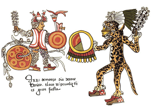 Važnu ulogu u astečkom društvu imale su svečanosti koje su se vrlo pažljivo pripremale. Ceremonije, obredi i svete igre udruživale su u sebi više umjetničkih disciplina isprepletenih oko osnovne mitske i religijske poruke.