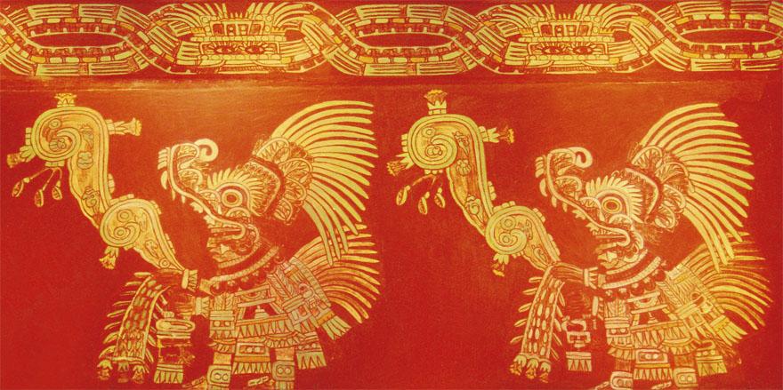 Cvijet i pjesma, zidna freska - Azteci, čuvari baštine Teotihuacana, prenose nam naziv i simbolizam ove majstorski oslikane freske. Prema njima, ovaj prikaz se odnosi na ideju približavanja čovjeka istini i Bogu putem umjetnosti i pjesništva. Na ovaj način, kako nam tumače Azteci, jedino je intuitivno moguće odgovoriti na temeljna ljudska pitanja vezana uz spoznaju Boga i traženje istine ovdje na zemlji.