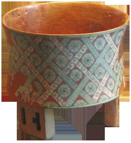 Tronožna posuda - Keramičke tronožne posude često su bile oslikane tehnikom freski. Ovaj lijepi primjerak ukrašen je cvjetnim i vodenim elementima. Cvjetovi s po četiri latice simboliziraju dušu okruženu simbolima vode.