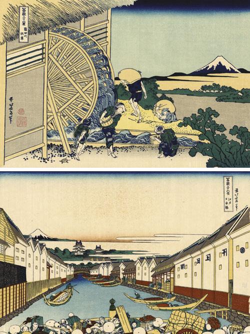Katsushika Hokusai (1760.-1849.), dva drvoreza iz serije 36 pogleda na planinu Fuji. Na gornjoj slici pod imenom Vodeni mlin u Ondenu vidi se postupak poliranja zrna riže vodom, a na donjoj koja se zove Most Nihonbashi u Edu prikazani su trgovci rižom.