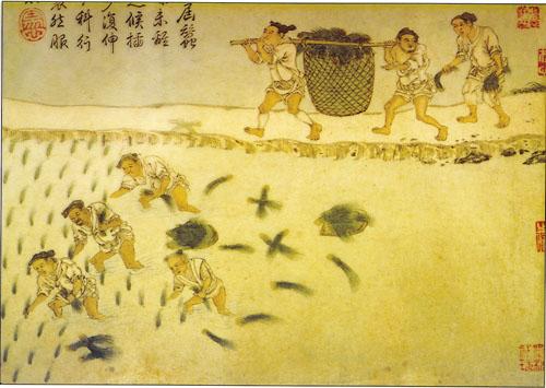 Slika iz dinastije Han (206. g. pr.Kr. - 220. g.) prikazuje seljake kako rade u rižinim poljima.