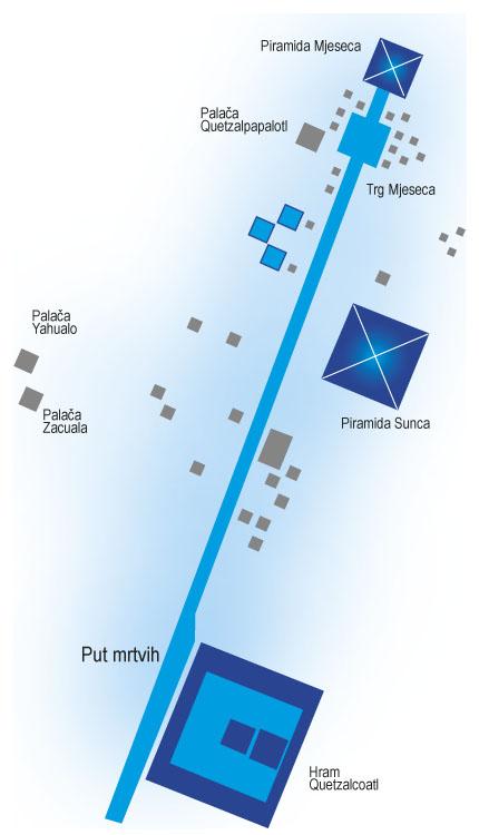Karta ceremonijalnog središta koje se prostiralo duž glavne gradske osi Teotihuacana.