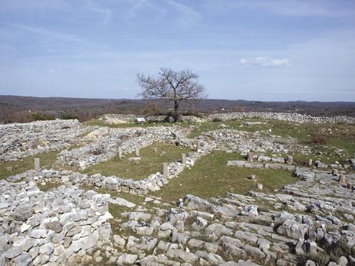 Pogled na akropolu - središnji  plato pravokutnog oblika, dimenzija 100 x 70 m.