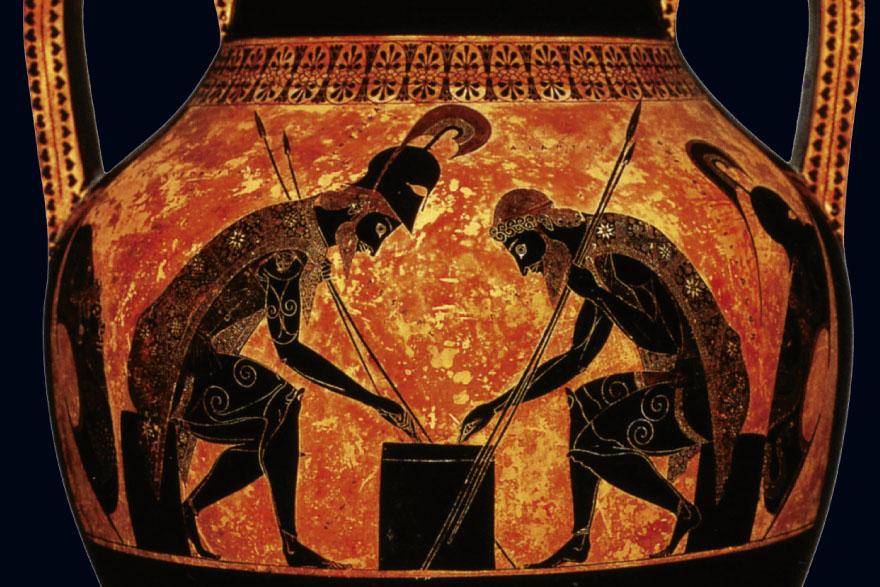 Eksekijina amfora, Ahilej i Ajant sudjeluju u igri, 540. - 530. g. pr. Kr., Vatikanski muzej.