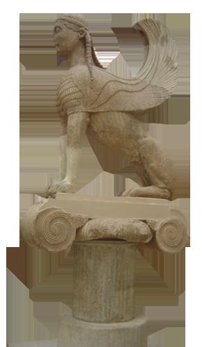 Sfinga s otoka Naxosa, oko 560.  g.  pr.  Kr., nalazi se u muzeju u Delfima.