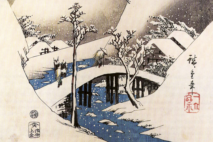 Hiroshige Japan-A_bridge_in_a_snowy_landscape