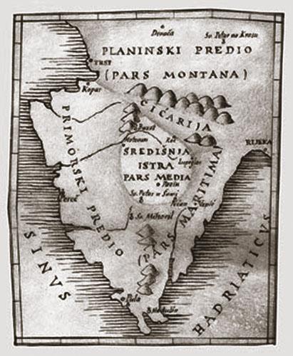 Podjela Istre prema Hermanovim komentarima iz njegova prijevoda Abu Ma'sharova Introductiorum maius in astronomiam.