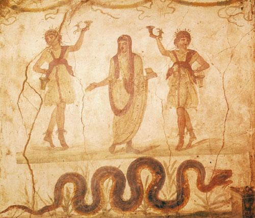 Oslikani zid lararija prikazuje pater familiasa s pokrivenom glavom kao što je bio običaj prilikom ceremonija. U ruci drži kutiju s obrednim mirisima. U pratnji su mu dva lara. Genij, duh zaštitnik pater familiasa predstavljen je zmijom.