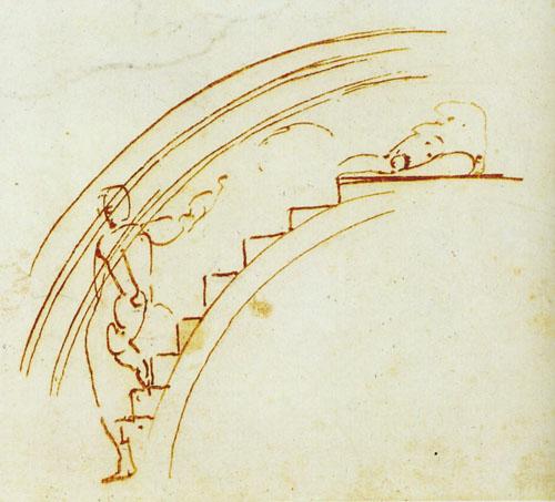 Michelangelova skica skele sagrađene za potrebe bojanja svoda Sikstinske kapele