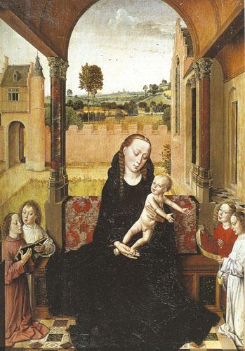 Bogorodica s djetetom nizozemskog slikara Diersa Boutsa nastala je sredinom XV. st. Zatvorenost i stroga geometrija zelenilom ukrašenog unutrašnjeg prostora drastično se suprotstavlja raskošnom krajoliku izvan visokoga ogradnog zida.