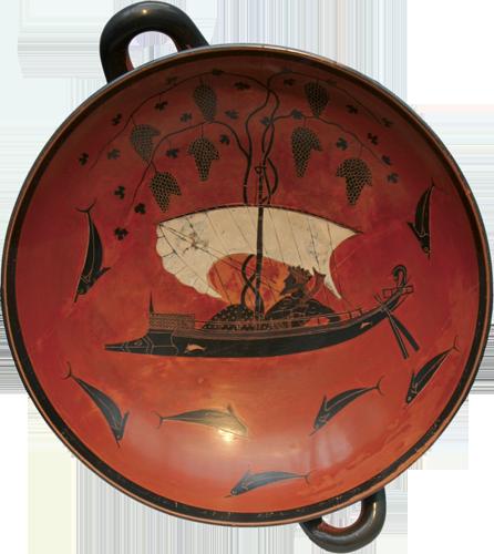Eksekija, Dionizov brod, slika na plitici, oko 530. g. pr. Kr., München.