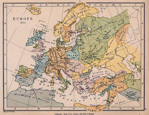 Karta s prikazom dijela Europe, sjeverne Afrike i Bliskog istoka oko  1135. godine.
