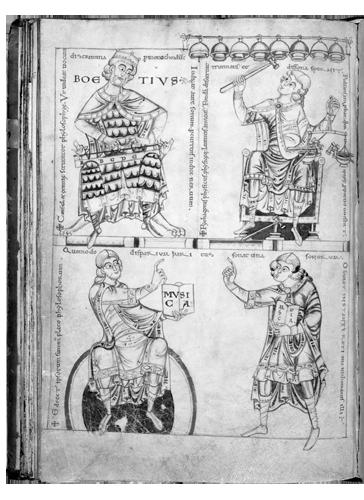 Prijepis Boetijevog djela Institutio musica (Načela muzičkog obrazovanja) iz XII. st. Zahvaljujući ovom djelu, koje je zasnovano na helenskim izvorima, glazba je uhvatila dubok korijen u srednjem vijeku, te je sve do modernih vremena ovo djelo služilo kao udžbenik glazbe na Cambridgeu i Oxfordu.