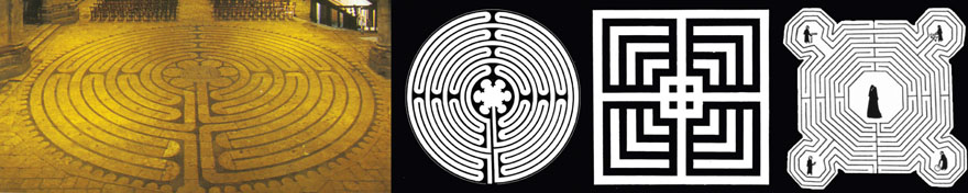 Shematski prikaz labirinata iz: Chartresa, Amiena i Reima. Smješteni su u središnjem brodu, blizu zapadnog ulaza. Hodočasnici su ih nekada prolazili na koljenima.