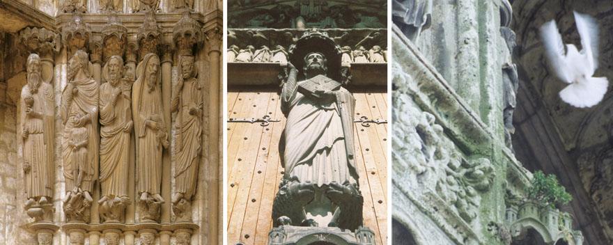 Na sjevernom portalu prikazani su starozavjetni likovi poput Abrahama te prikaz Krista na zapadnom portalu u Chartresu.