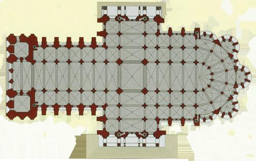 Gotičke katedrale držale su se tradicionalnog tlocrta u obliku latinskog križa. Uzdužni brod (kor), transept i apsida spajaju se u križištu, a iz apside zrakasto se šire kapele.