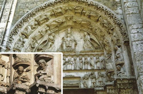 Portali, kamene knjige u kojima je ispisano svo znanje i nadahnuće graditelja, iznimno su važni u gotičkim katedralama. Na zabatu zapadnog portala katedrale u Chartresu prikazana je Djevica s djetetom okružena anđelima. Na vanjskom krugu prikazano je devet muza grčke umjetnosti, a pri dnu velikani antike poput Pitagore i Aristotela na uvećanom detalju.