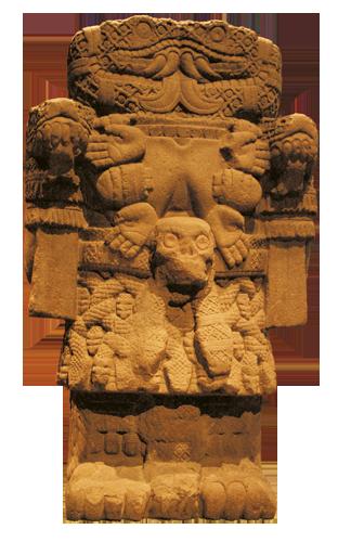 """Coatlicue, """"Ona sa suknjom od zmija"""", Majka bogova, božica zemlje, života i smrti. Astečki su mudraci kroz pojam Coatlicue povezivali majčinski princip čuvanja života s ratničkim principom neprekidne borbe suprotnosti. Zahvaljujući tome, uvijek može nastajati novo uz žrtvu onoga što je staro. Antropološki muzej, Mexico City."""