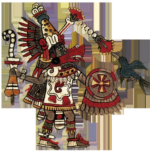 """Quetzalcoatl, """"Pernata zmija"""", bog koji je vlastitom žrtvom stvorio čovjeka nakon potopa, dao mu sva potrebna znanja i vještine, od zakona, pisma, umjetnosti, do obrade zemlje, traženja ruda, obrade metala i svih graditeljskih umijeća. On je u svemu uzor i primjer moralnog savršenstva, """"ljubitelj mira""""."""