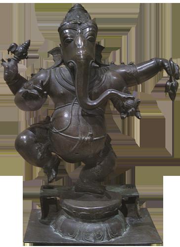 Ganeša, bog mudrosti i pisma. Kaže se da je jednom kljovom zapisao ep Mahabharata.