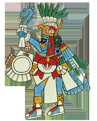"""Huitzilopochtli – """"Bog kolibrić"""" koji najavljuje novo doba čovječanstva vezano uz buđenje čovjekove svijesti. Simbolizira posljednju transformaciju duše koja se od leptira pretvara u kolibrića."""