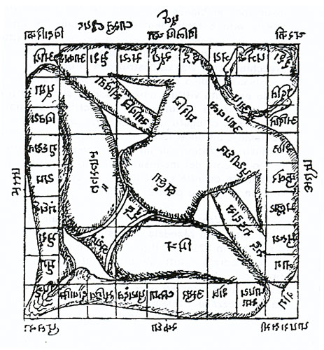 Vastupuruša mandala, kozmički čovjek iscrtan na mandali hrama prema drevnom indijskom priručniku arhitekture.