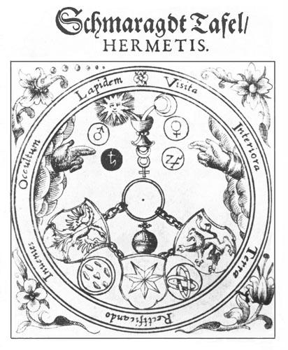 Ilustracija uz tekst Tabule smaragdine, djela koje se pripisuje Hermesu Trismegistosu (Prodromus Rhodostauroticus, 1620.).
