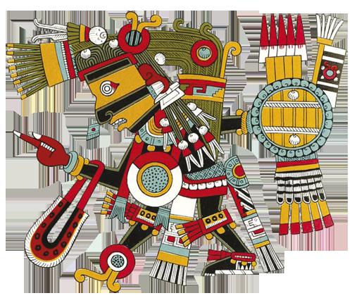 """Tezcatlipoca, """"Bog dimnog zrcala"""", Podzemno Sunce, brat Quetzalcoatla i njegov neprijatelj, Gospodar pomrčina i tame. Dimno zrcalo stvara iluzije u pojavnom svijetu koje za čovjeka predstavljaju iskušenja."""