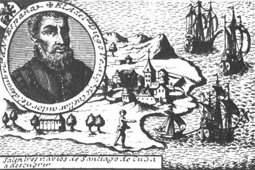 Portret Diega de Velásqueza i karta Kube koju je osvojio 1511. g. Kao guverner Kube Velásquez se sprijateljio s mladim Cortésom i predao mu zapovjedništvo nad ekspedicijom kojoj je zadatak bio osvojiti Meksiko.
