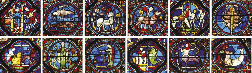 Dvanaest vitraja koji predstavljaju dvanaest znakova zodijaka, katedrala u Chartresu.