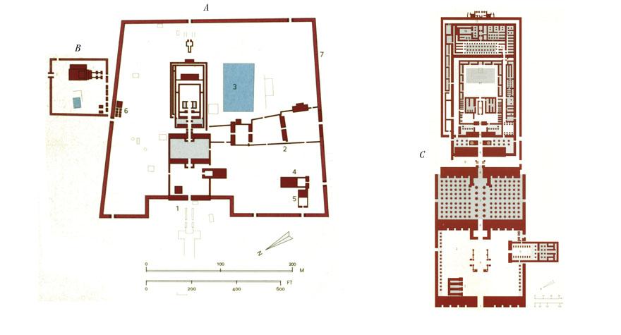A. Amonov kompleks, 1. Glavna građevina Amonovog hrama, 2. Sekundarna os Amonovog hrama, 3. Sveto jezero, 4. Khonsuov hram, 5. Ipetov hram, 6. Ptahov hram, 7. Ogradni zid, B. Montuov kompleks, C. Uvećani tlocrt Amonovog hrama