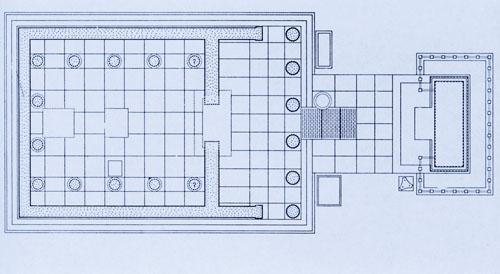 Artemidin hram - Južno od Asklepijevog hrama bio je hram Apolonove sestre, božice Artemide. S dimenzijama 13,5 x 9,6 m bio je po veličini drugi hram u cijelom svetištu. Pročelje sa šest dorskih stupova bilo je okrenuto na istok, a dvanaest jonskih stupova išlo je duž triju unutrašnjih strana cele.