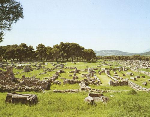 Gimnazij - Južno od palestre proteže se još jedna velika građevina – gimnazij (75,57 x 69,53 m). Služio je kao vježbalište u kojem su pod nadzorom posebnih trenera vježbali atlete, ali i bolesnici kojima je vježbanje određeno kao terapija. U rimsko doba gimnazij očito nije služio svojoj svrsi jer je, najvjerojatnije krajem III. st., unutar njega sagrađeno malo kazalište - odeon.