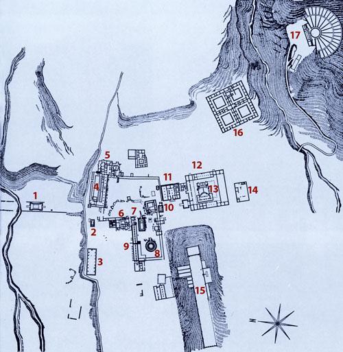 Plan kompleksa u Epidauru: 1. Propileji; 2. Afroditin hram; 3. Cisterna; 4. Stoa; 5. Kupatila; 6. Kupatila; 7. Asklepijev hram; 8. Tolos; 9. Abaton; 10. Artemidin hram; 11. Palestra; 12. Gimnazij; 13. Rimski odeon; 14. Kupatila; 15. Stadion; 16. Konačište; 17. Kazalište