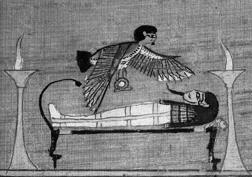 Duša Ba iznad mumije.  Papirus Ani.