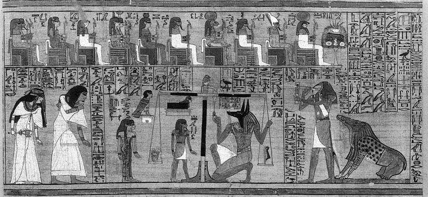 """Poznati prikaz """"vaganja duše"""" iz Anijevog papirusa, gdje vaganju prisustvuju svi aspekti vidljive i nevidljive prirode Anija."""