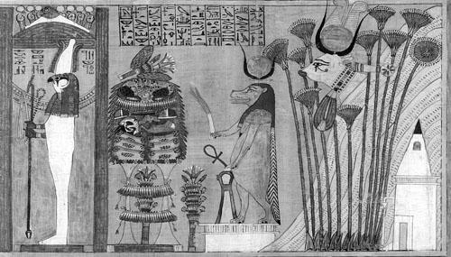 Zadnja scena iz Anijevog papirusa (glava 186.) Na prikazu s lijeve strane je bog Sokar-Oziris, a iza njega su božice Toeris i Hator koji dočekuju umrlog u Poljima mira, odnosno u egipatskom raju.
