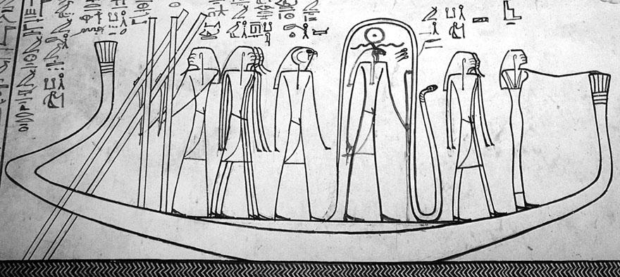 Crtež u grobnici Tutmozisa III. u Tebi, Dolina kraljeva, XVIII. dinastija. Božica Izida stoji na pramcu božanske barke tijekom njenog noćnog putovanja kroz podzemni svijet. Zajedno s božicom magije Hekom pomaže posadi broda u savladavanju demona podzemlja.