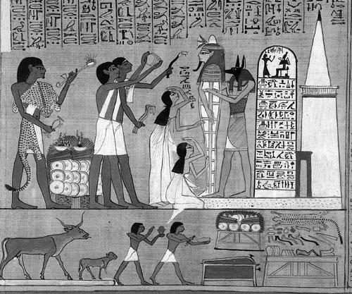 """Obred """"otvaranja usta umrlog"""" prije polaganja mumije u grobnicu.  Papirus Ani."""