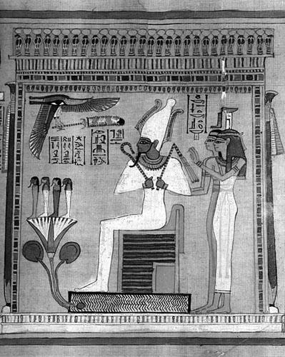 Vrhovni sudac Oziris na svome prijestolju u podzemnom svijetu. Detalj s papirusa pisara Hunefera.