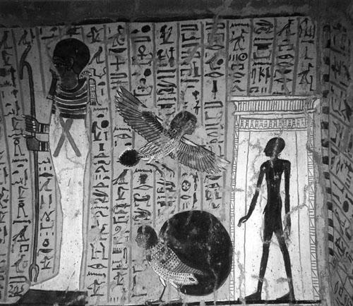 Vinjeta s prikazom Ba i sjene umrlog. Poglavlje iz Knjige mrtvih iz grobne komore Irinefera. Teba, XIX. dinastija.