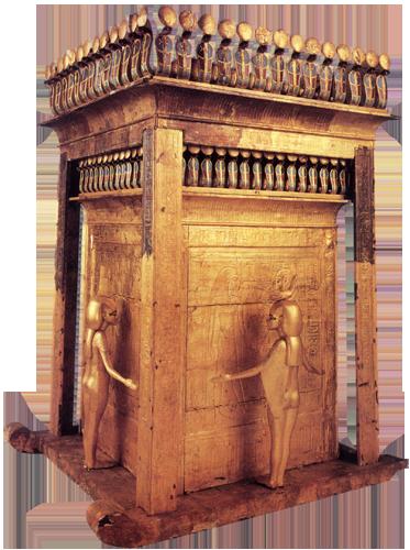 Vanjska kanopska škrinja koju čuvaju četiri božice - Izida, Neftida, Neit i Selket;  pozlaćeno drvo, visina 2 m, grobnica faraona Tutankhamona.