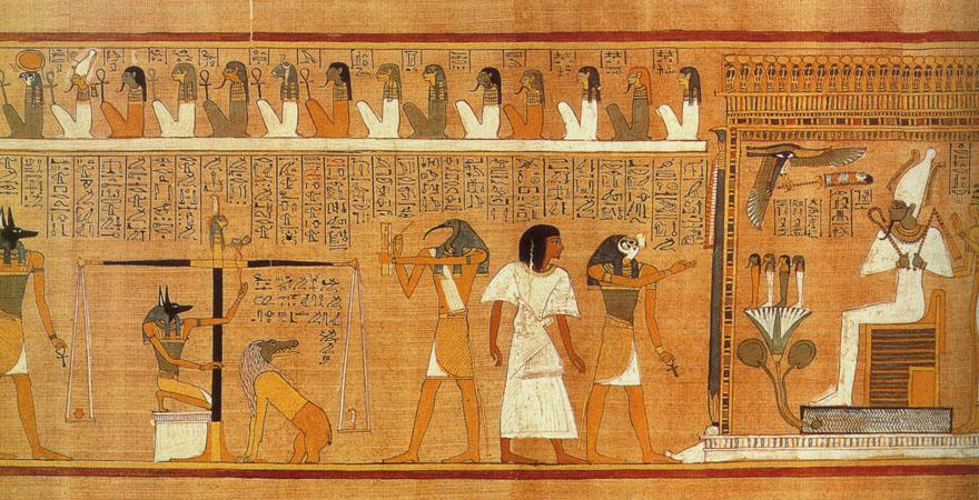 """Prikaz """"vaganja duše"""" ili """"vaganje srca umrloga"""" iz Knjige mrtvih pisara Hunefera. Papirus se čuva u Britanskom muzeju u Londonu. Vaganje duše odvija se u Dvorani pravde, pred Ozirisovim prijestoljem. Središnje mjesto zauzima vaga na kojoj bog Anubis, čuvar i zaštitnik mrtvih, važe srce pokojnika kako bi ispitao da li je ono lagano poput pera Maat - pravde koje se nalazi na drugoj plitici vage. Desno od vage u liku čovjeka s glavom ptice ibis vidimo boga Thota koji predstavlja univerzalni zakon i mudrost. On na daščici kistom zapisuje pojedinosti suđenja. Vrhovni sudac je Oziris, a tu su i četrdeset i dva božanstva koja prisustvuju suđenju."""